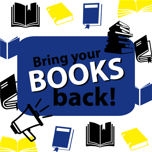 Bring your books back graphic with blue, yellow, black books on a white background.